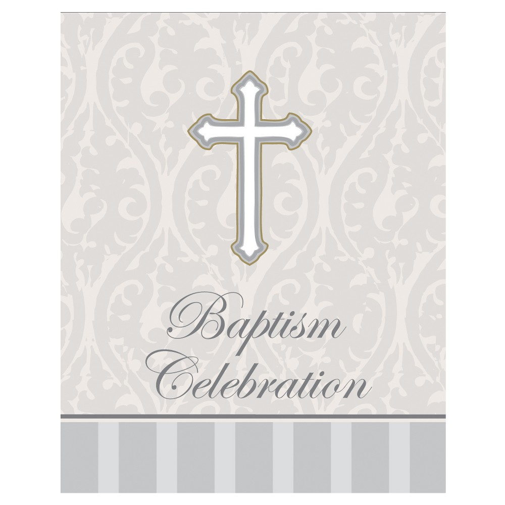 8ct Baptism Light Gray Invitation Cards, Light Grey