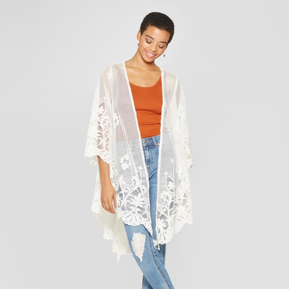 Women's Long Sleeve Lace Kimono - Xhilaration White S
