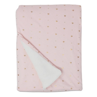 Living Textiles Baby Jersey Blanket w/ Sherpa - Pink Metallic Hearts