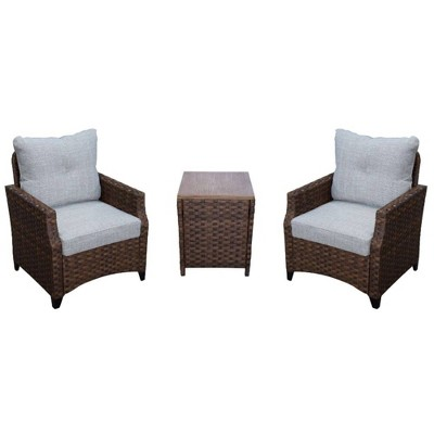 Costa Mesa 3pc Seating Set of 2 Club Chairs & 1 End Table - Brown - Courtyard Casual