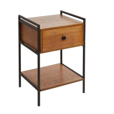 Farmhouse Nightstand with Drawers Textured Black - Silverwood
