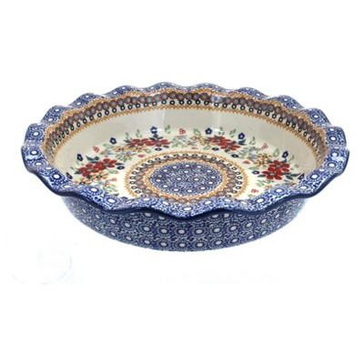 Blue Rose Polish Pottery Red Daisy Pie Plate