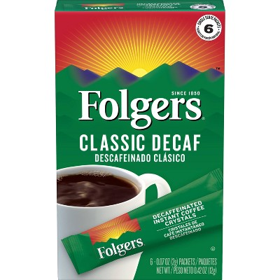 Folgers Classic Decaf Instant Medium Roast Coffee - 6ct