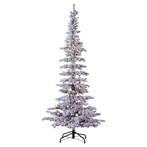 75ft Pre Lit Artificial Christmas Tree Full Flocked Narrow Pine