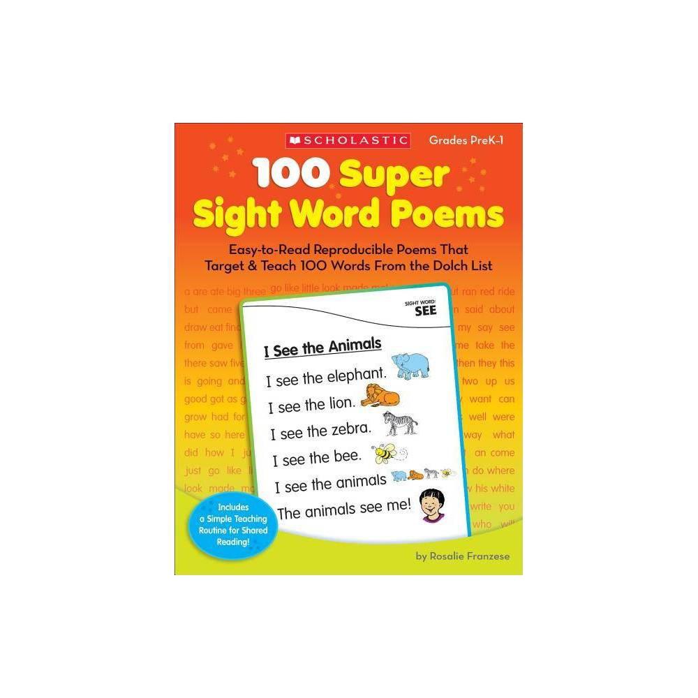 100 Super Sight Word Poems Grades Prek 1 By Rosalie Franzese Paperback