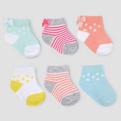 Baby Girls' 6pk Ankle Bow Socks - Just One You® made by carter's Multicolor 3-12M