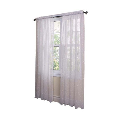 Commonwealth Home Fashions Habitat Hathaway Scroll Motif Embroidery Tailored Sheer Window Panel in White Color