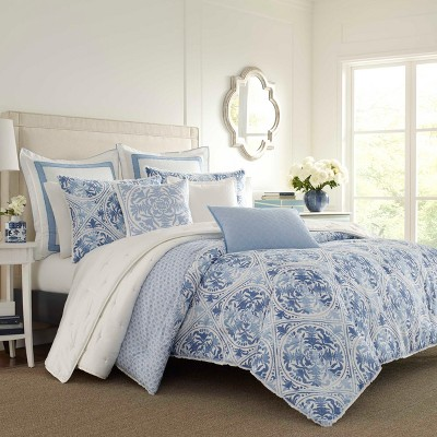 King Mila Comforter Set Blue - Laura Ashley