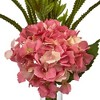 Hydrangea and Statice Bud Silk Arrangement with Cylindrical Glass Vase - Nearly Natural - image 2 of 3