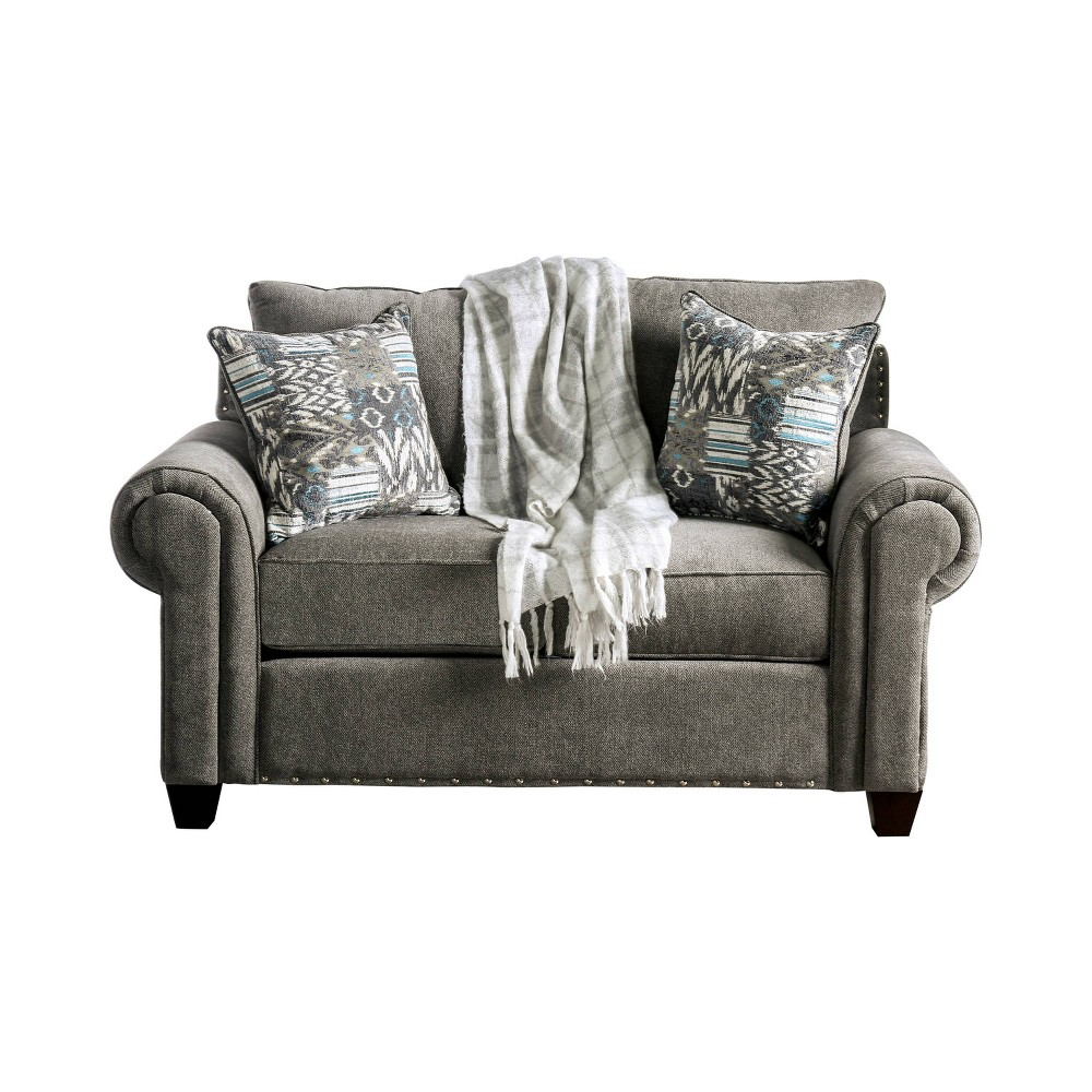 Jardine Rolled Arm Loveseat Gray - Sun & Pine