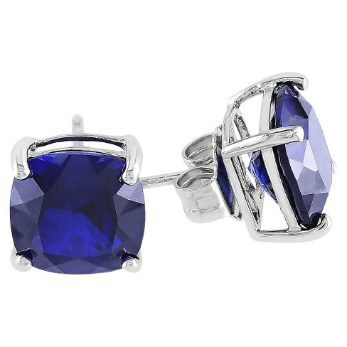 6 CT. T.W. Created Sapphire Solitaire Stud Earrings in Sterling Silver - Blue - image 1 of 1