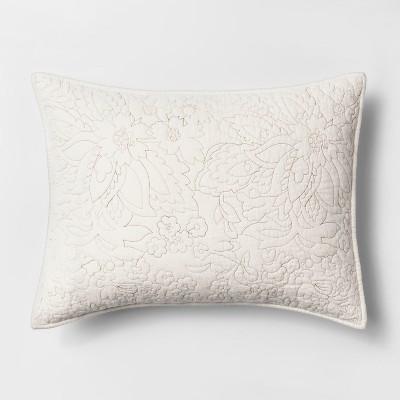 Standard Floral Embroidered Flannel Sham Cream - Threshold™