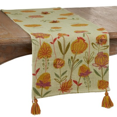 """72"""" x 16"""" Cotton Embroidered Flowers Table Runner - Saro Lifestyle"""
