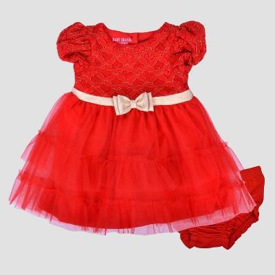 Baby Grand Signature Baby Girls' Ruffle Dress with Rhinestone Belt - Red 3-6M
