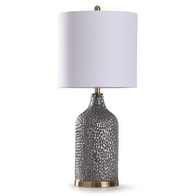 Rochford Textured Glass Table Lamp with Drum Shade Antique Brass - StyleCraft