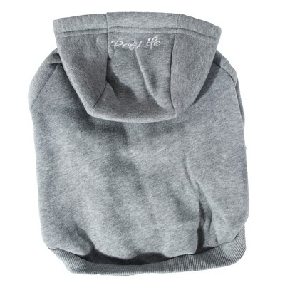 Pet Life Fashion Plush Cotton Hooded Sweater Dog and Cat Hoodie - Gray - XS