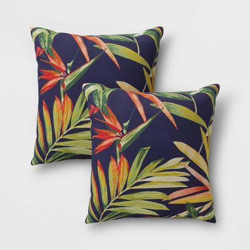 2pk Jungle Tropical Outdoor Throw Pillows DuraSeason Fabric™ Navy - Threshold™ - image 1 of 2
