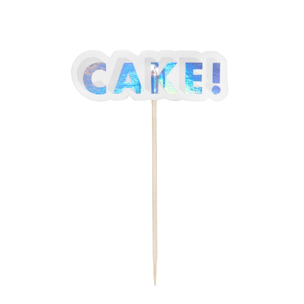 Image of 12ct Holographic Treat Toppers White - Spritz