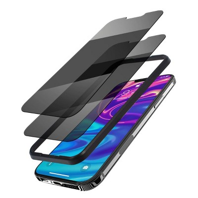 """Insten 2-Pack Privacy Glass Screen Protector Compatible with iPhone 13 & 13 Pro 6.1"""", 9H Tempered Glass Anti-Spy Film, With Easy Installation Frame"""