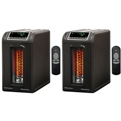 Lifesmart 3 Element 1500W Portable Electric Infrared Quartz Indoor Medium Room Space Heater, Black (2 Pack)