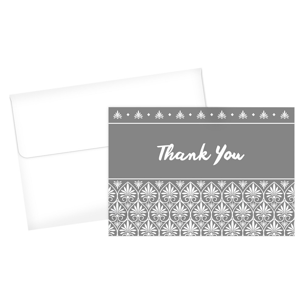 Acanthus Thank You Card - 24ct, Gray