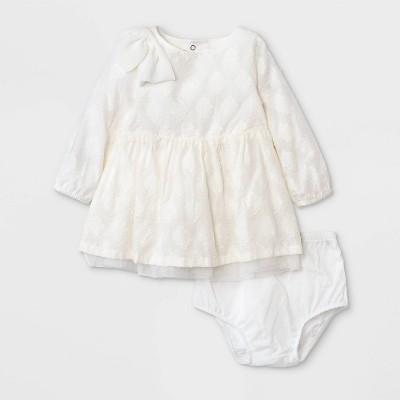 Baby Girls' Long Sleeve Clipspot Dress - Cat & Jack™ Cream