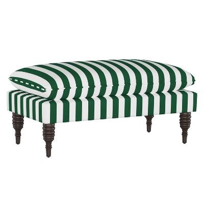 Pillowtop Bench Canopy Stripe Emerald - Skyline Furniture