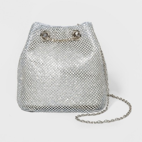 Estee & Lilly Crystal Bucket Bag Clutch - Silver - image 1 of 3