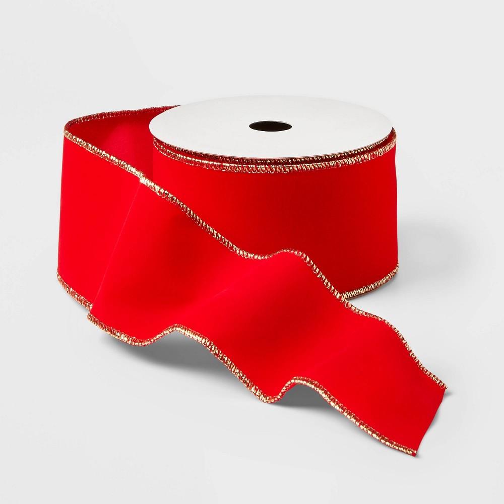 """Image of """"2.5"""""""" Velvet Ribbon Red 21ft - Wondershop"""""""