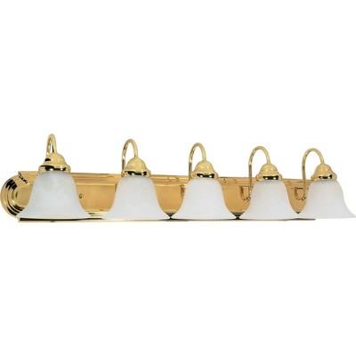 5 Light Bath Sconce with Alabaster Glass Polished Brass - Aurora Lighting