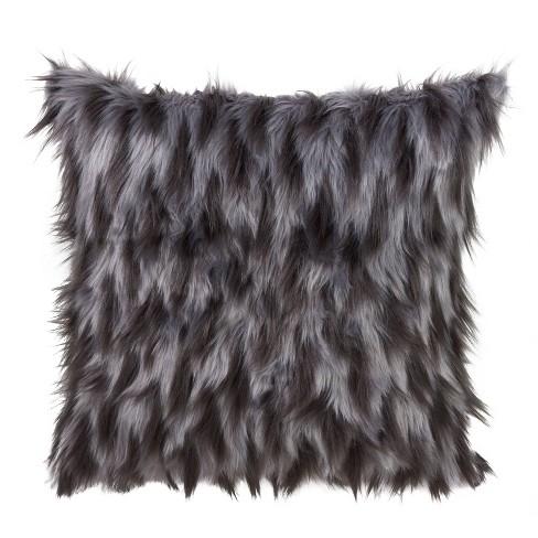 Faux Fur Pillow Black - Saro Lifestyle - image 1 of 3