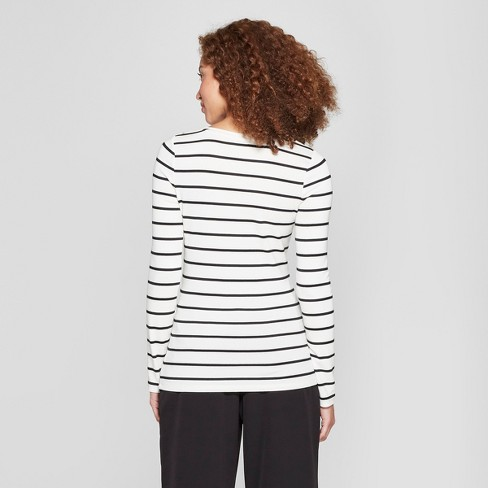 Women s Striped Fitted Long Sleeve T-Shirt - A New Day™   Target ad97b6704a85