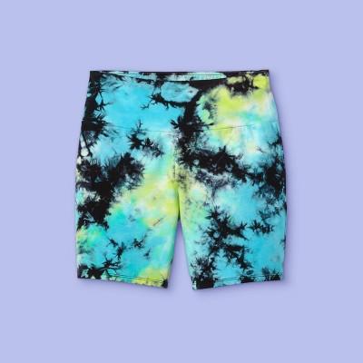 Girls' Tie-Dye Bike Shorts - More Than Magic™ Aqua/Lime