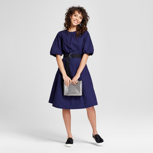 Women's Bubble Sleeve Tie Waist Dress - Mossimo™ Blue - image 1 of 2