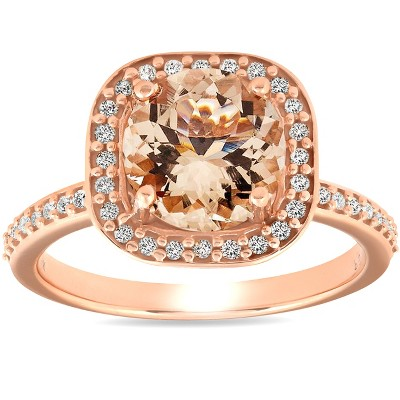 Pompeii3 2 Ct Morganite & Diamond Cushion Halo Engagement Ring 14k Rose Gold