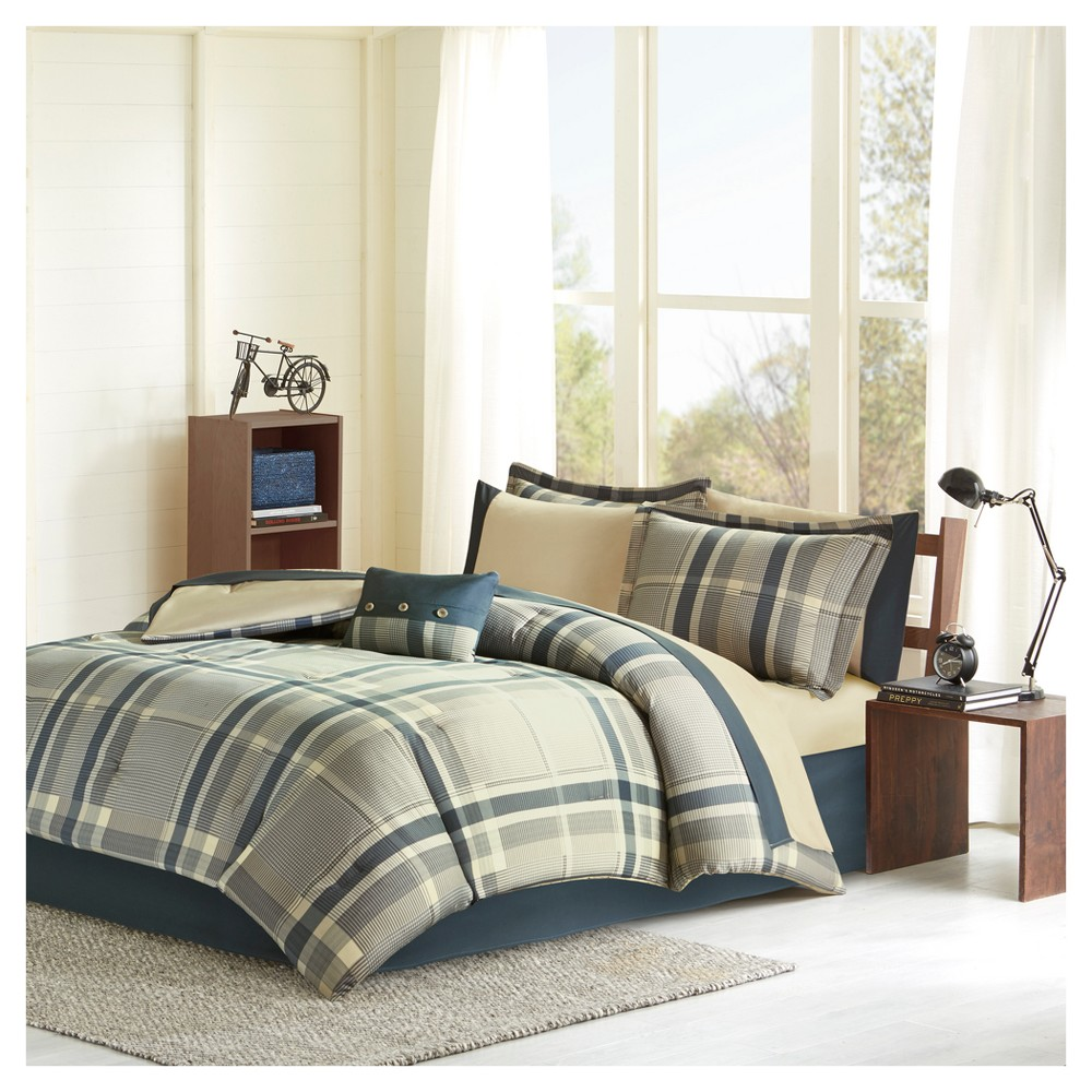 Navy Rick Comforter and Sheet Set (Twin), Multicolored