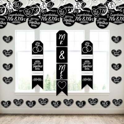 Big Dot of Happiness Mr. and Mrs. - Wall and Door Hanging Decor - Black and White Wedding or Bridal Shower Room Decoration Kit