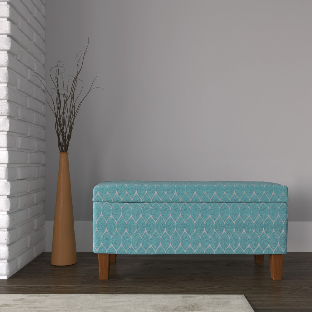Large Textured Storage Bench - Teal (Blue) - HomePop