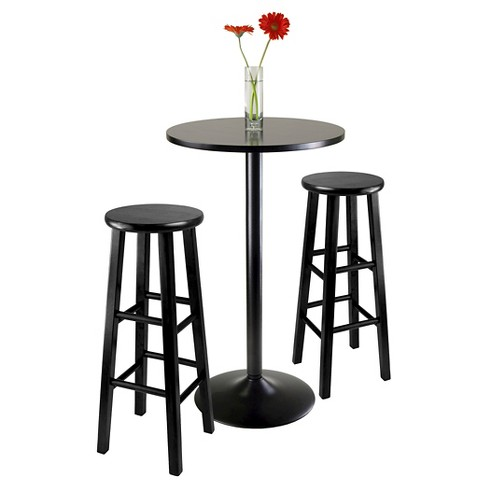 3 Piece Obsidian Bar Height Pub Table Set With Stools Wood Black 29 Winsome Target