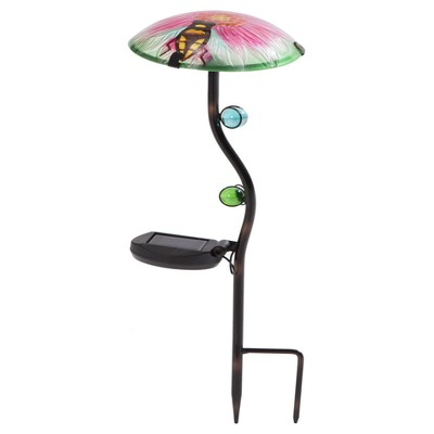 12  x 12  x 24  Iron Solar Led Mushroom Garden Stake Set Of 3 Pink/Green/Blue - Sunjoy
