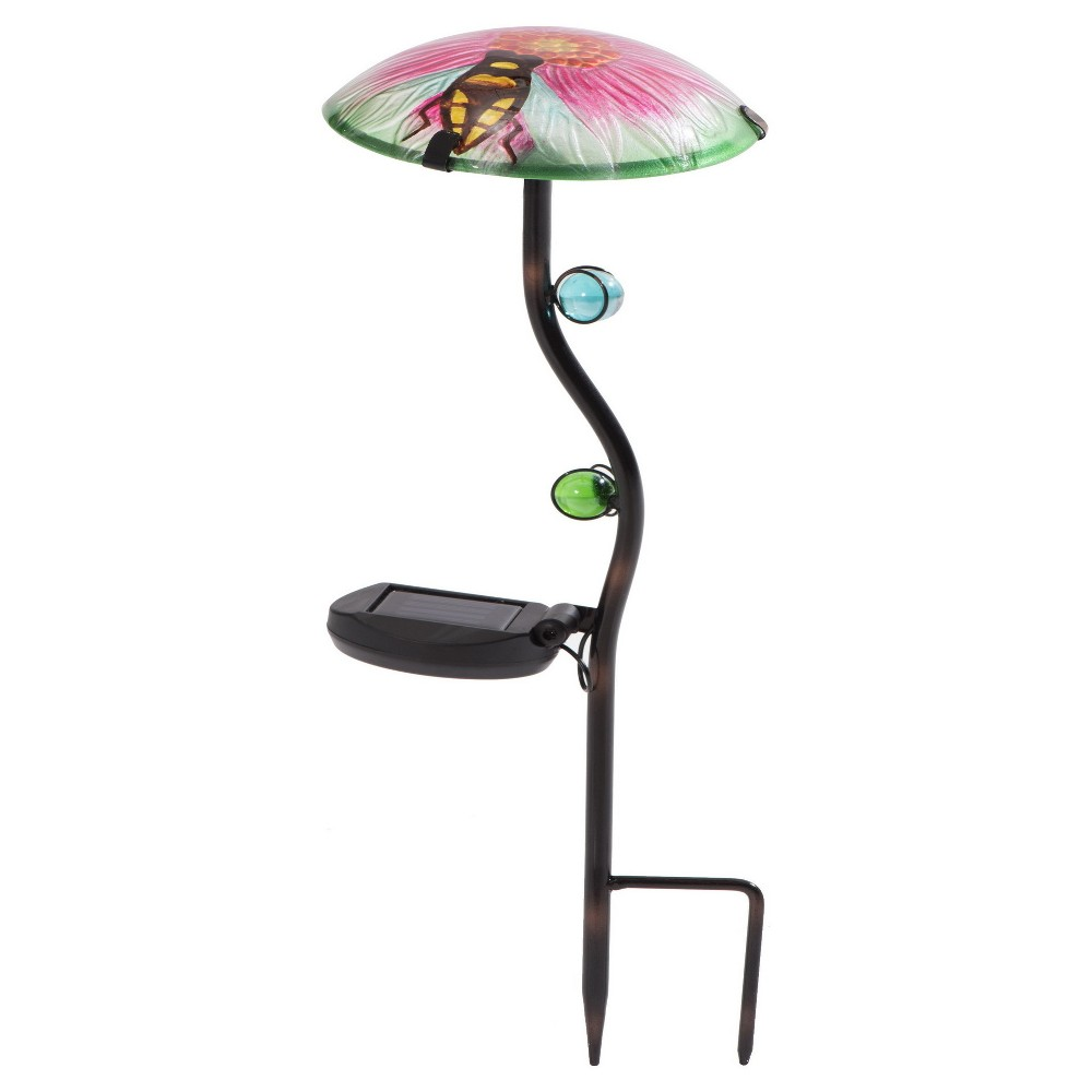 12 x 12 x 24 Iron Solar Led Mushroom Garden Stake Set Of 3 Pink/Green/Blue - Sunjoy, Multi-Colored