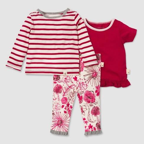 Burt's Bees Baby® Baby Girls' Organic Cotton 3pc Garden Top & Bottom Set - Pink - image 1 of 4