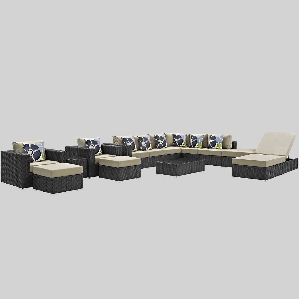 Sojourn 12pc Outdoor Patio Sunbrella Sectional Set - Beige - Modway