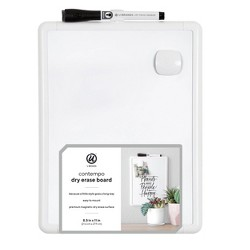 """8.5""""x11"""" Comtempo White Frame Magnetic Dry Erase Board - Ubrands"""