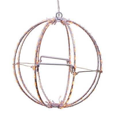"""Kurt Adler 8"""" Orange LED Foldable Metal Sphere"""