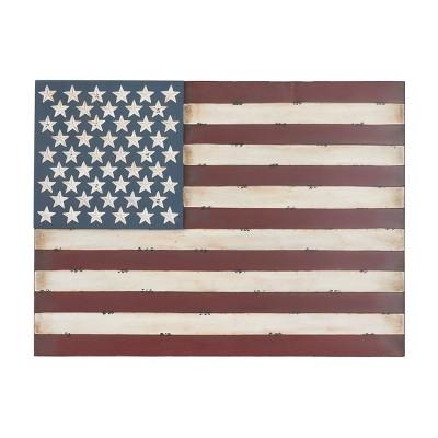 Metal Vintage Rectangular American Flag Wall Decor - Olivia & May