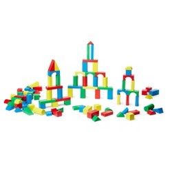 Melissa & Doug Wooden Building Block Set - 200 Blocks in 4 Colors and 9 Shapes