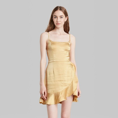 Women's Sleeveless Satin Wrap Dress - Wild Fable™ - image 1 of 3