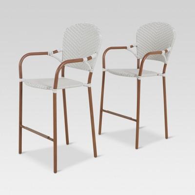 French Café 2pk Wicker Patio Bar Chair - Gray/White - Threshold™