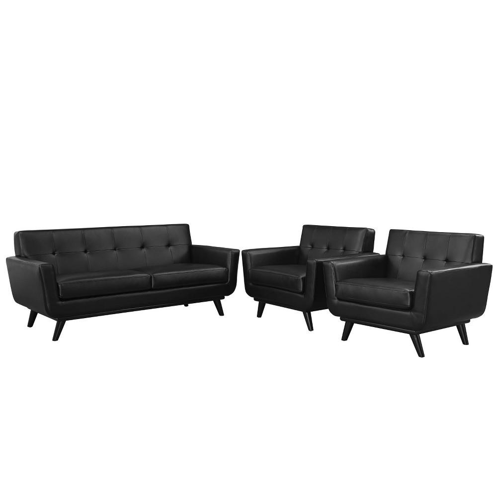 Engage 3pc Leather Living Room Set Black - Modway